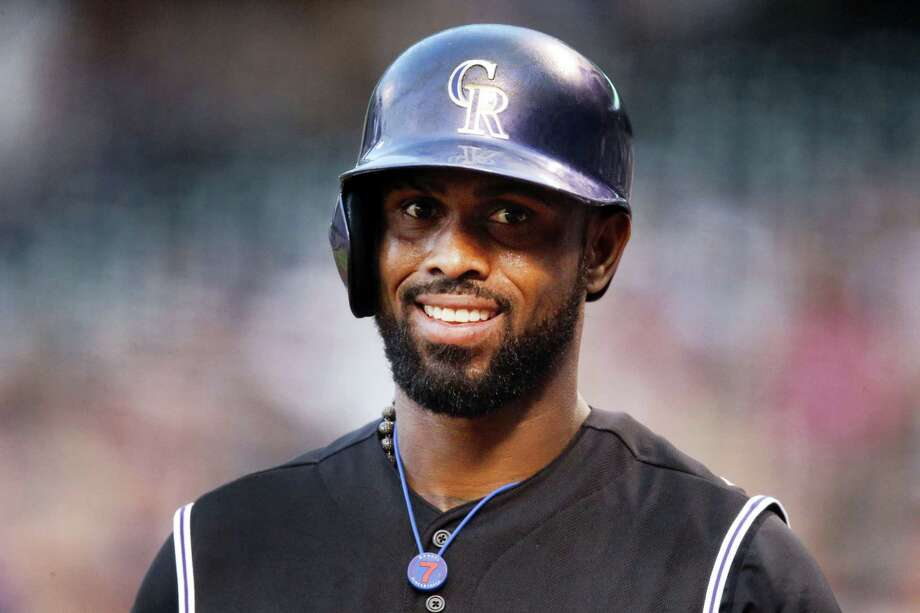 Colorado Rockies shortstop Jose Reyes has been suspended by Major League Baseball through May 31 for violating MLB's domestic violence policy. Photo: The Associated Press File Photo  / Copyright 2016 The Associated Press. All rights reserved. This material may not be published, broadcast, rewritten or redistribu