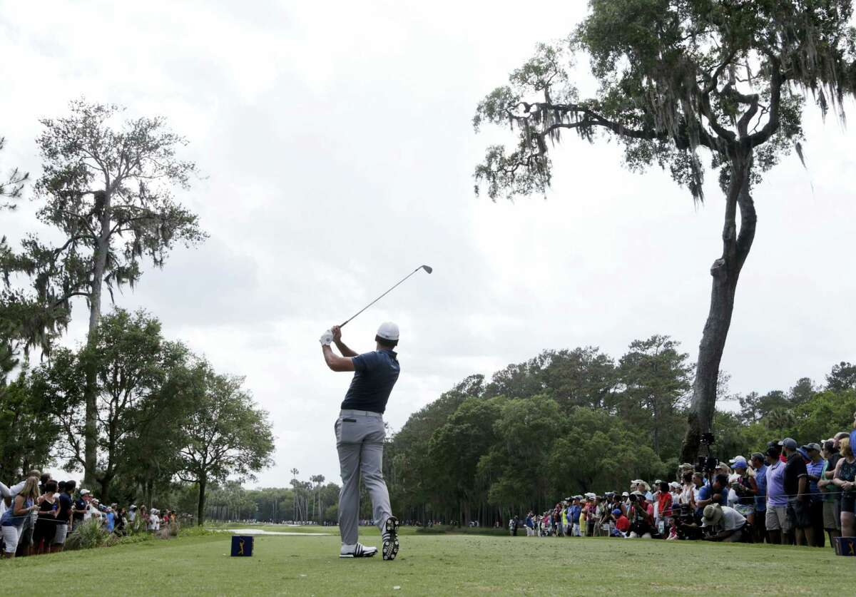 Jason Day hits from the sixth tee during the second round of The Players Championship Friday in Ponte Vedra Beach, Fla.