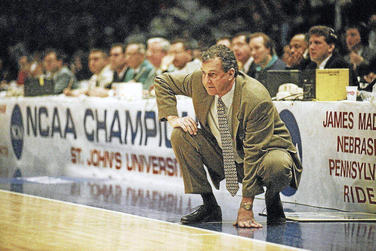Jim Calhoun watches intently from the sidelines during the NCAA tournament game in 1994. Sunday will mark the 30th anniversary of when Calhoun was hired to be the UConn men's basketball coach.