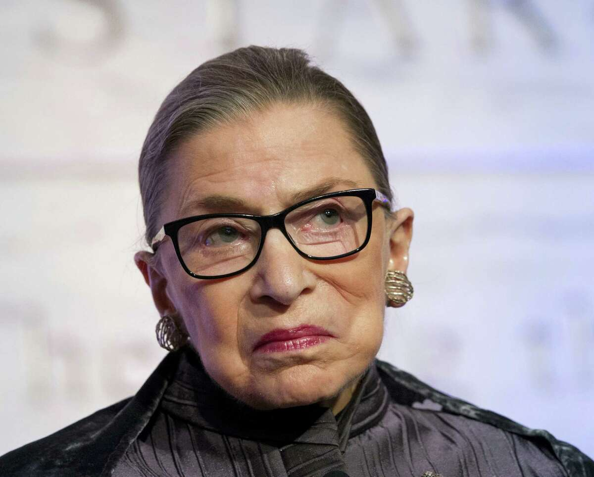 """In this June 1, 2016, file photo, Supreme Court Justices Ruth Bader Ginsburg speaks in Washington. Ginsburg says she doesn't want to think about the possibility of Donald Trump winning the White House, and predicts the next president, """"whoever she will be,"""" probably will have a few appointments to make to the Supreme Court."""