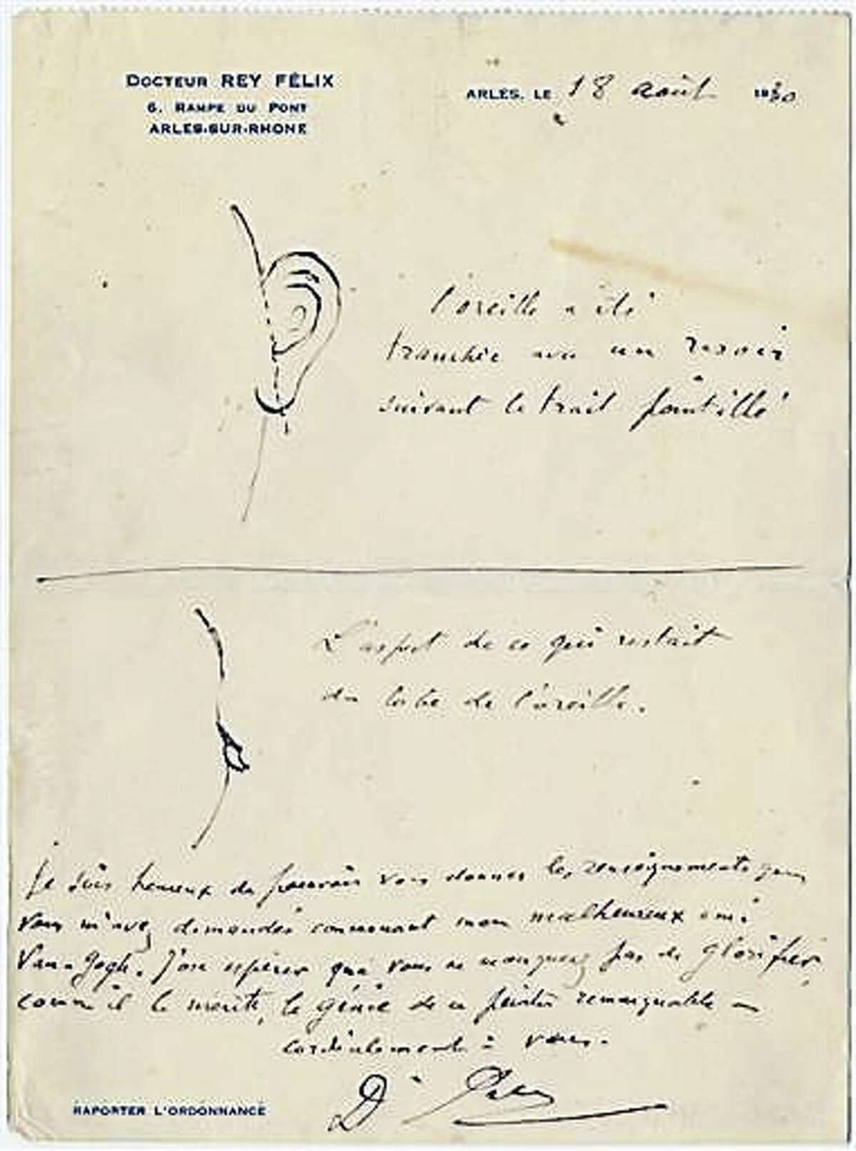 This image made available by the Van Gogh Museum on Wednesday July 13, 2016, shows a sketch and notes made by junior French provincial doctor Dr. Felix Rey. The sketch made by Dr Felix Rey who treated Van Gogh, was recently rediscovered in an American library and shows just how much off his left ear Van Gogh sliced off in December 1888 in the southern French town of Arles.