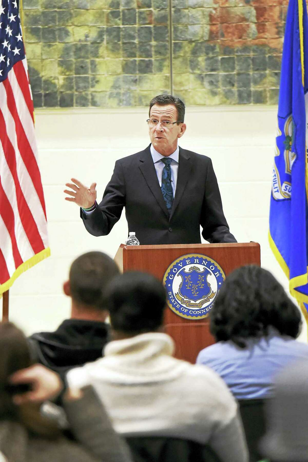 In this file photo, Gov. Dannel P. Malloy's Town Hall Forum at Wilbur Cross High School in New Haven Tuesday evening, February 23, 2016, where he answers questions from constituents on a range of state issues. Governor and the lieutenant governor have been holding the forums throughout the 2016 legislative session. Approximately 250 people attended the forum.