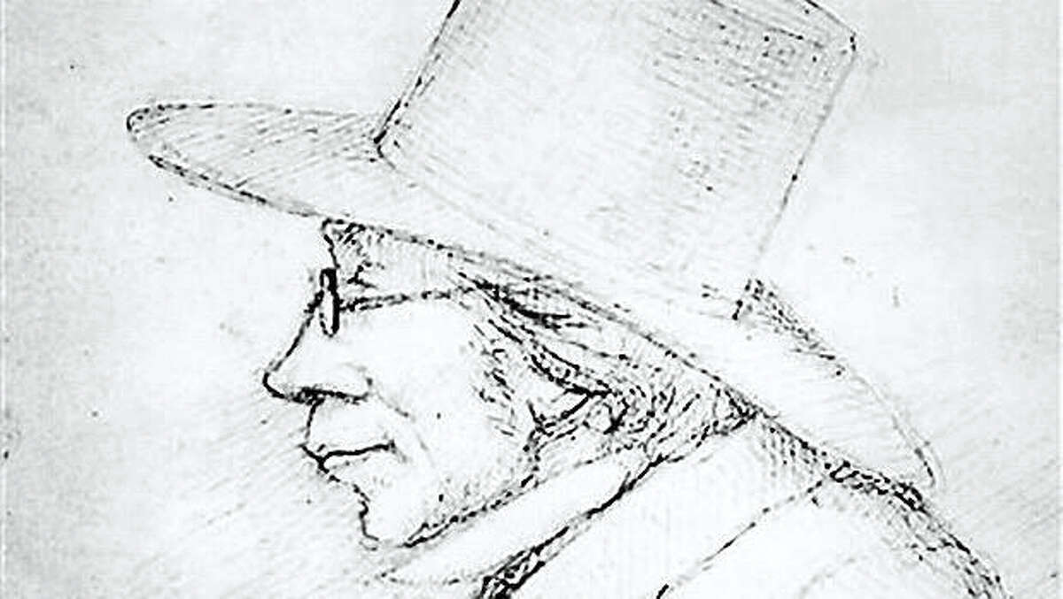 AP photo of a drawing to celebrate the life of Kierkegaard in 2013, what would have been his 200th birthday year.