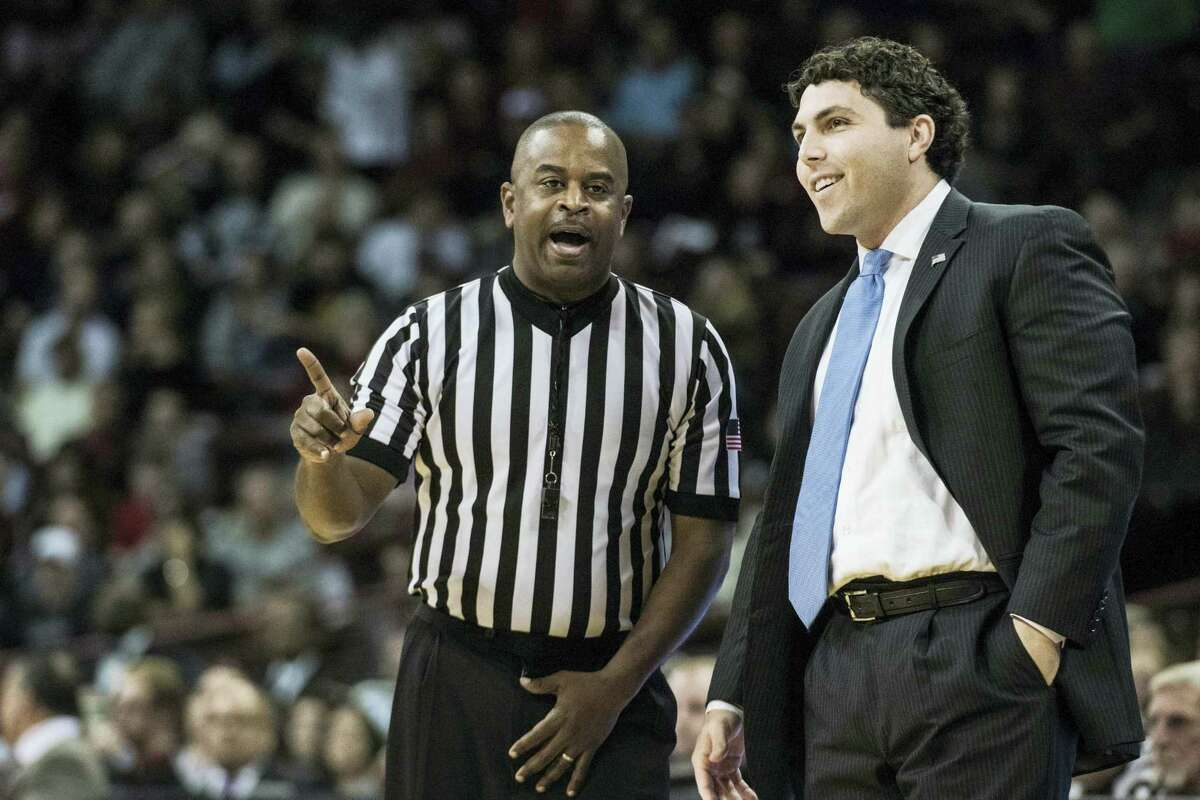 Memphis coach John Pastner talks with a referee during a game earlier this season.