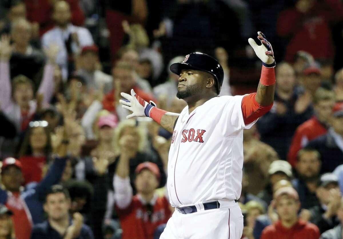 David Ortiz celebrates his solo home run in the eighth inning.