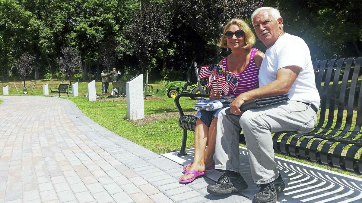 Kathleen Schassler — The Middletown Press Middletown residents Sue Martucci and Thomas Goglia met Tuesday at the Connecticut Trees of Honor Memorial, a project nearing completion. Goglia, treasurer and adjutant of Middletown's Disabled American Veterans Chapter 7, is involved in plans to install a memorial for disabled veterans. Martucci, founder of the Connecticut Trees of Honor, worked with Gold Star Mom Diane DeLuzio to create the memorial.