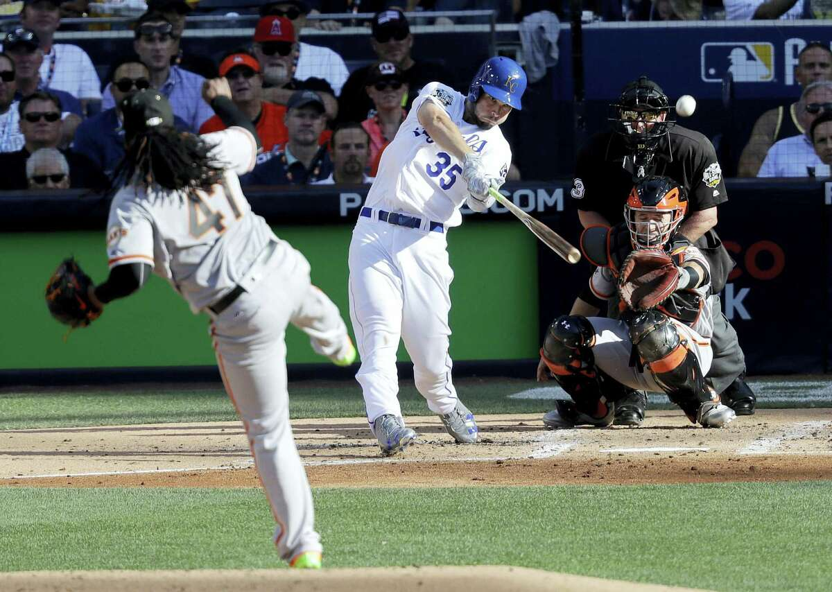 American League's Eric Hosmer, of the Kansas City Royals, hits a home run during the second inning of the MLB baseball All-Star Game, Tuesday, July 12, 2016, in San Diego.