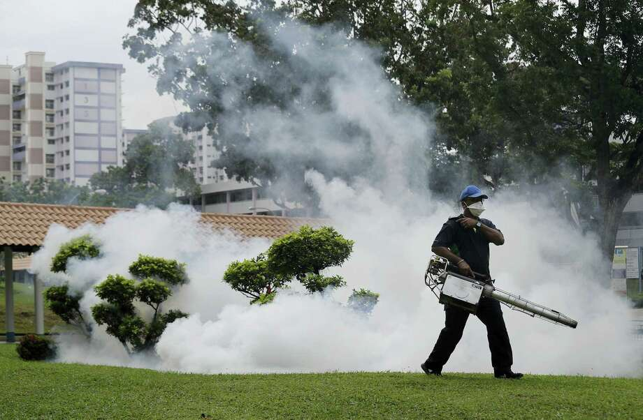 A pest control worker fumigates drains and the gardens at a local housing estate where the latest case of Zika infections were reported from in Singapore. Photo: Wong Maye-E — The Associated Press  / Copyright 2016 The Associated Press. All rights reserved.