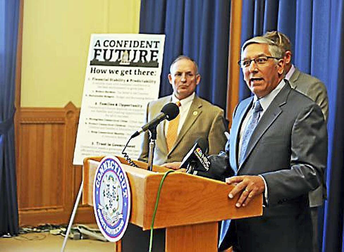 Senate Minority Leader Len Fasano speaks to reporters Thursday in Hartford.