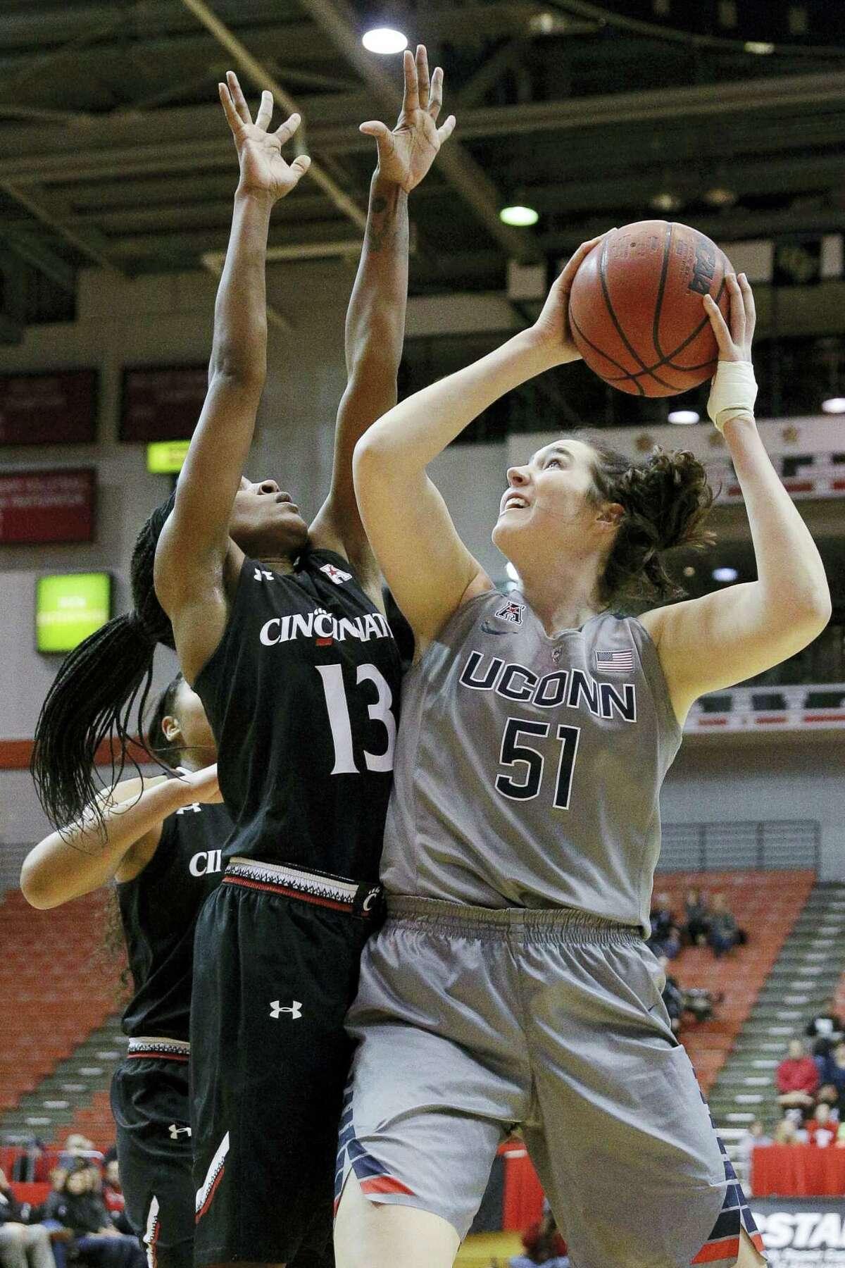 UConn's Natalie Butler had 11 points and eight rebounds in her UConn debut against Cincinnati on Dec. 30.