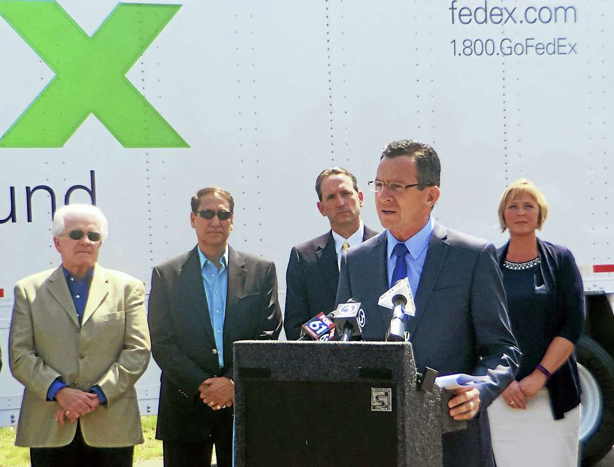 During Thursday's FedEx Ground's ground-breaking ceremony, Gov. Dannel P. Malloy said the shipping company will eventually produce nearly 1,000 jobs for the area and will be good for the community and the tax base.