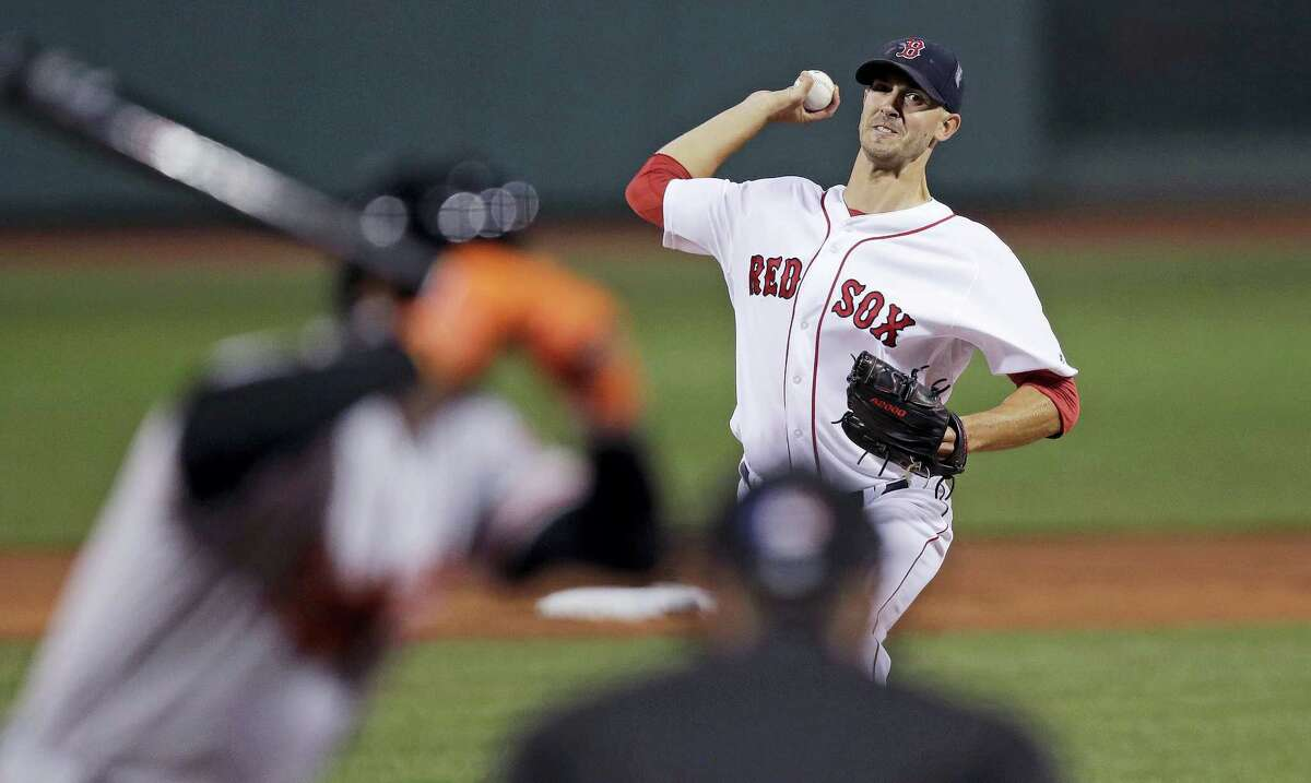 Boston Red Sox starting pitcher Rick Porcello delivers during the first inning against the Baltimore Orioles at Fenway Park Wednesday. Porcello allowed just four hits but still lost to the Orioles 1-0.
