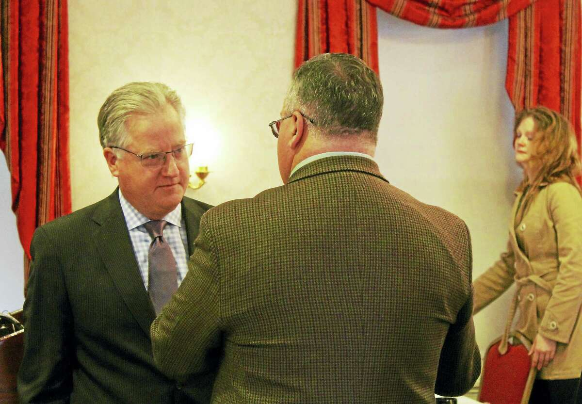 House Speaker Brendan Sharkey, D-Hamden, addressed Middlesex County Chamber of Commerce members during the monthly breakfast on Friday about the economic reality of the state.