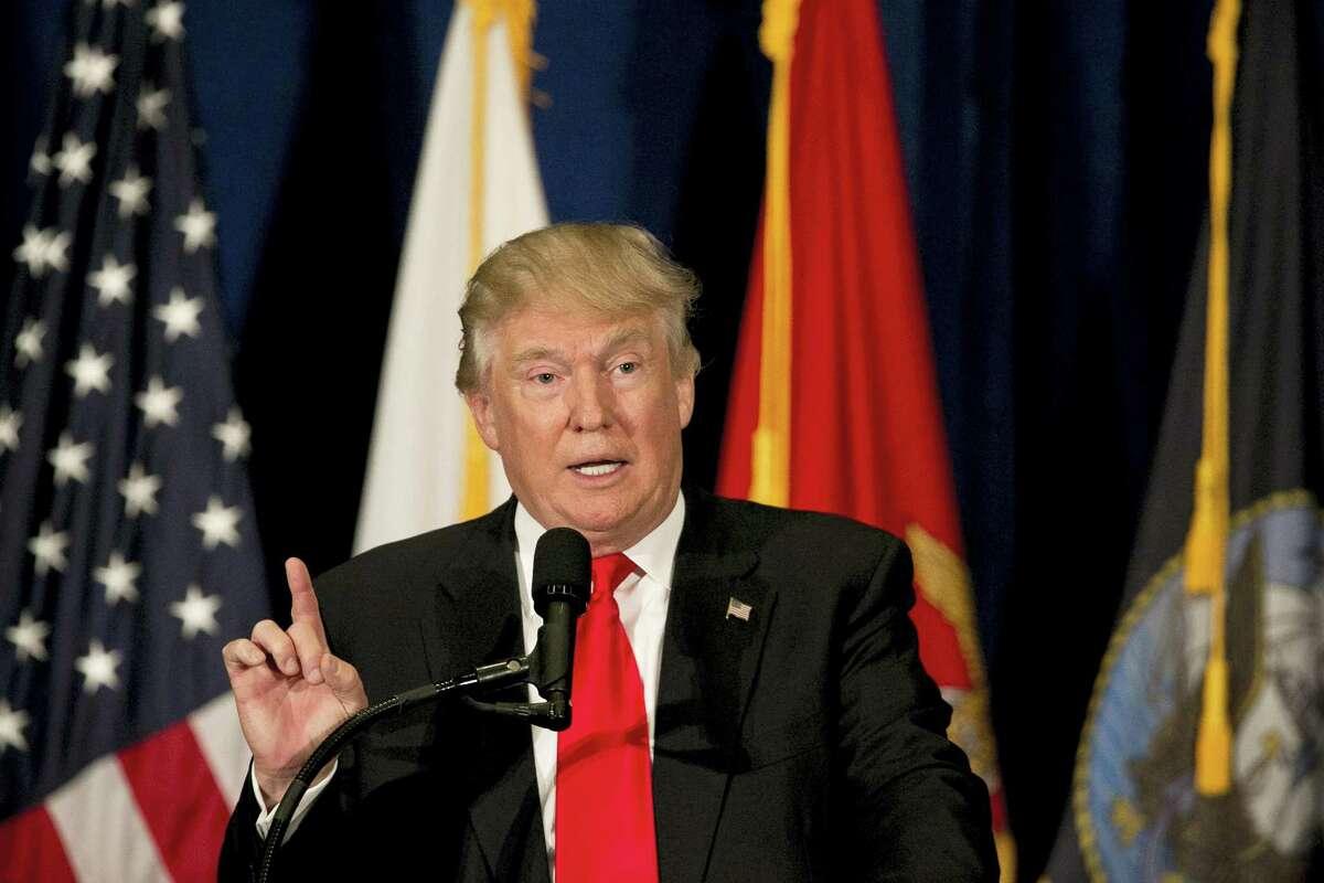 Donald Trump speaks at Westin Town Center in Virginia Beach, Virginia, Monday.