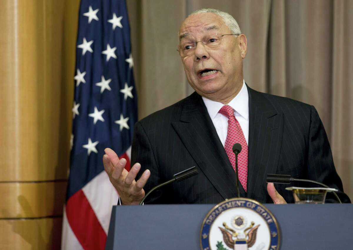 In this photo taken Sept. 3, 2014, former Secretary of State Colin Powell speaks at the State Department in Washington. Powell, in newly leaked emails, criticized both major presidential candidates, calling Donald Trump 'Äúa national disgrace'Äù and lamenting Hillary Clinton'Äôs attempt to equate her email practices with his.