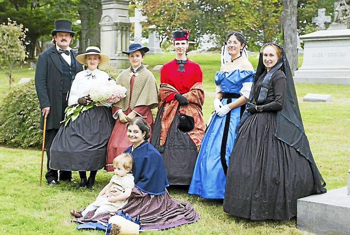 Contributed photoThe ladies and gentlemen of Juleps & Viragoes, the living history department of the Cromwell Historical Society, will lead a walking tour through the hallowed ground of Hillside Cemetery on Sunday.