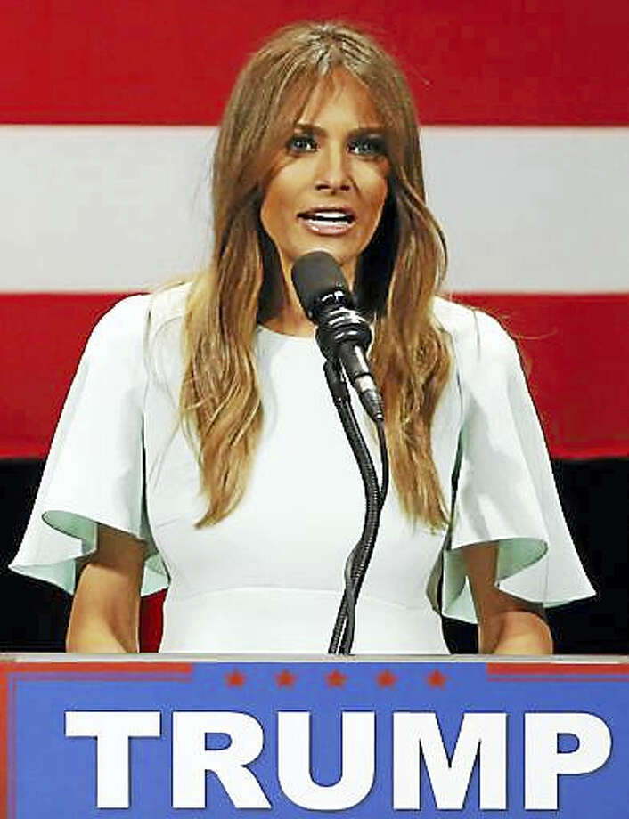 This is a April 4, 2016, file photo, Melania Trump, wife of Republican presidential candidate Donald Trump, addresses the crowd during a rally at the Milwaukee Theatre in Milwaukee. Photo: AP Photo/Charles Rex Arbogast, File   / Copyright 2016 The Associated Press. All rights reserved.