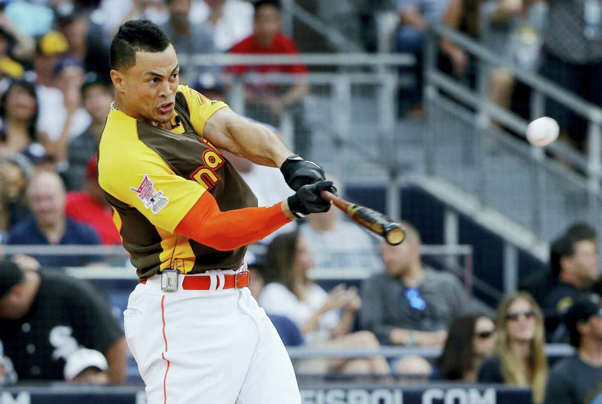Giancarlo Stanton hits during the Home Run Derby on Monday in San Diego.