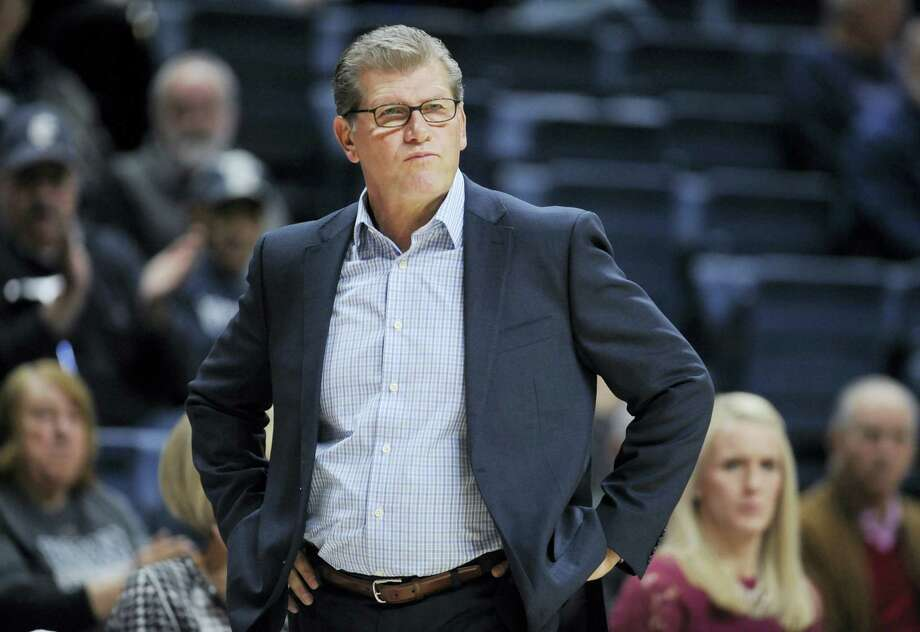 UConn women's basketball coach Geno Auriemma, pictured here during an exhibition game against Indiana University of Pennsylvania, gained the top recruit in the next freshman class when Megan Walker verbally committed on Thursday. Photo: JESSICA HILL — The Associated Press  / AP2016