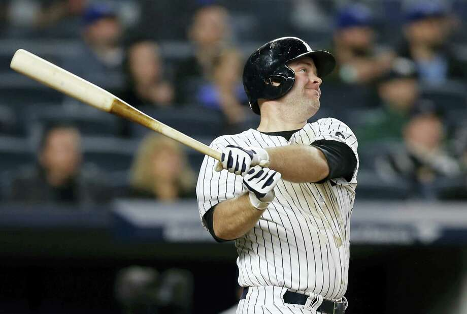 New York Yankees catcher Brian McCann watches his eighth-inning, two-run double in the Yankees' 10-7 victory over the Kansas City Royals at Yankee Stadium Tuesday. Photo: KATHY WILLENS — THE ASSOCIATED PRESS  / Copyright 2016 The Associated Press. All rights reserved. This material may not be published, broadcast, rewritten or redistribu