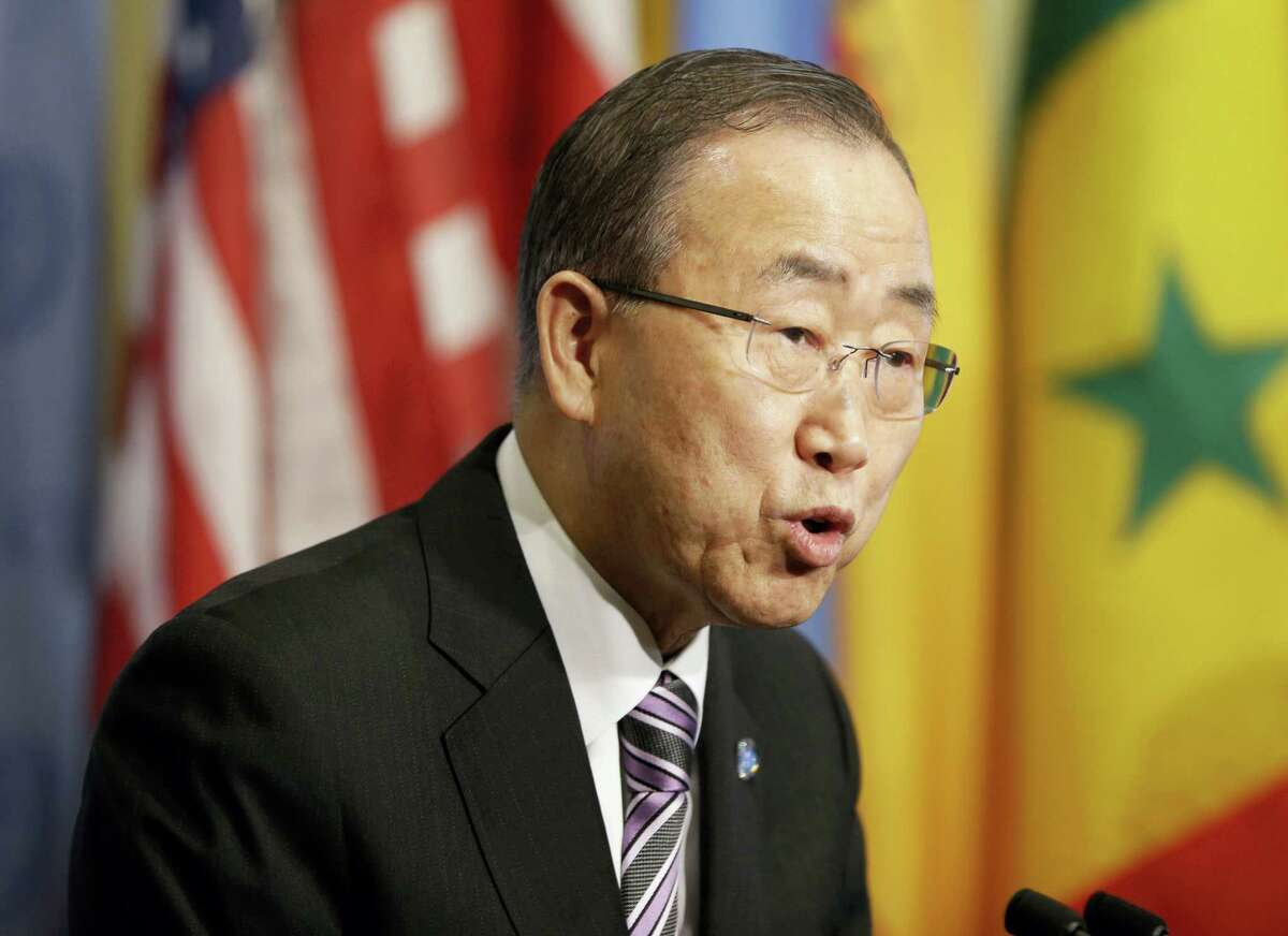 """United Nations Secretary-General Ban Ki-moon speaks to reporters before a Security Council meeting at U.N. headquarters, Wednesday, Jan. 6, 2016. North Korea trumpeted its first hydrogen bomb test Wednesday, a powerful, self-proclaimed """"H-bomb of justice"""" that would mark a major and unanticipated advance for its still-limited nuclear arsenal. Pyongyang's announcement was met with widespread skepticism, but whatever the North detonated in its fourth nuclear test, another round of tough international sanctions looms for the defiant, impoverished country."""
