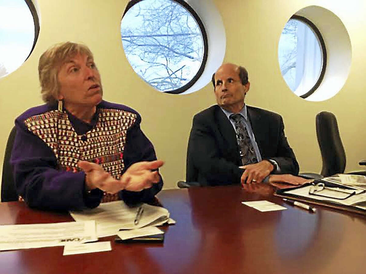 Patrice McCarthy, left, the Connecticut Association of Boards of Education deputy director and general counsel, and Executive Director Robert Rader meet with the New Haven Register editorial board to outline their priorities for the 2016 legislative session.