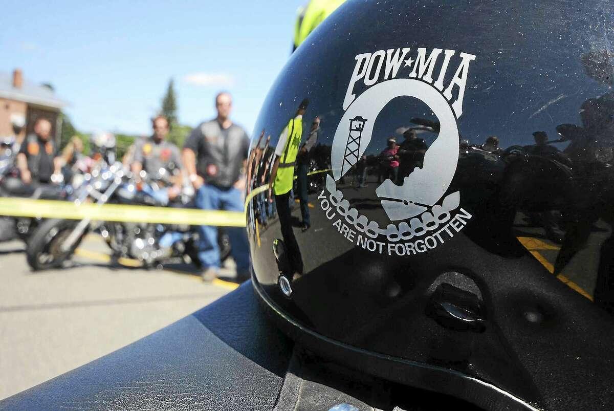 A POW MIA helmet