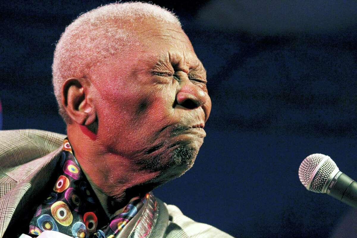 In this Aug. 22, 2012 photo, an 86-year-old B.B. King thrills a crowd of several hundred people at the 32nd annual B.B. King Homecoming concert in Indianola, Miss.