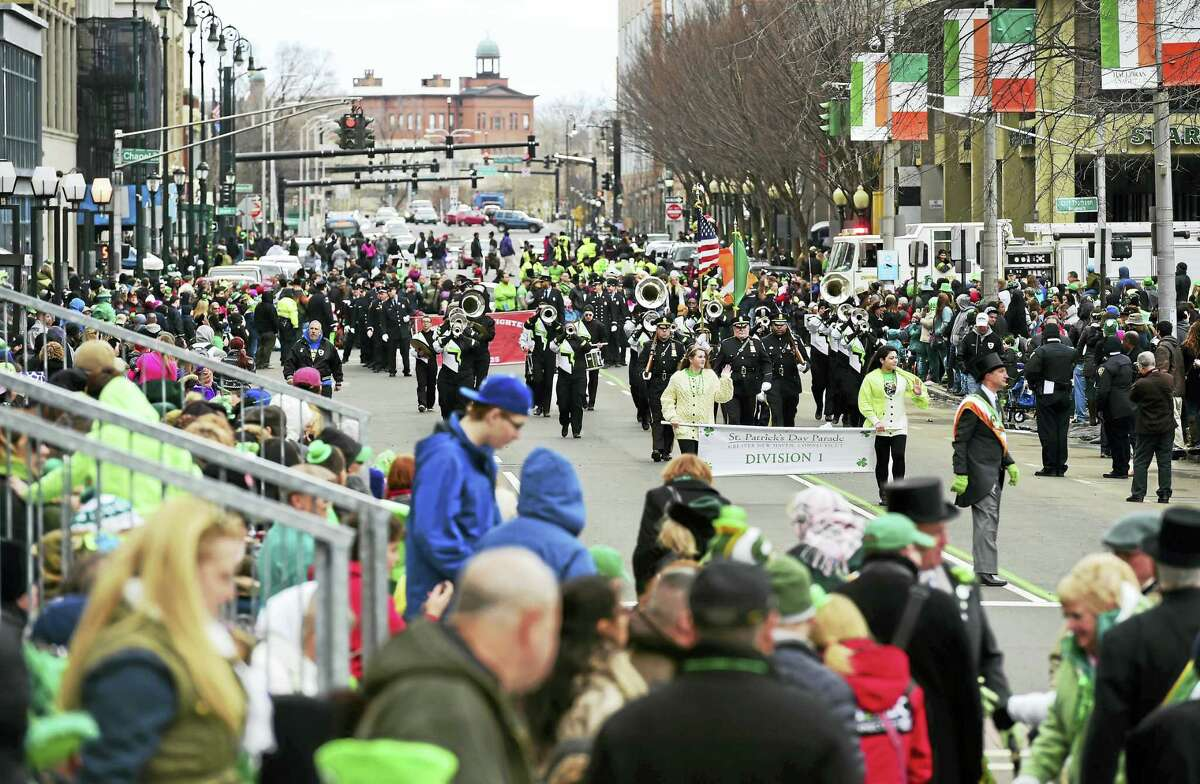 Marchers on Church Street during the New Haven St. Patrick's Day Parade in 2015.