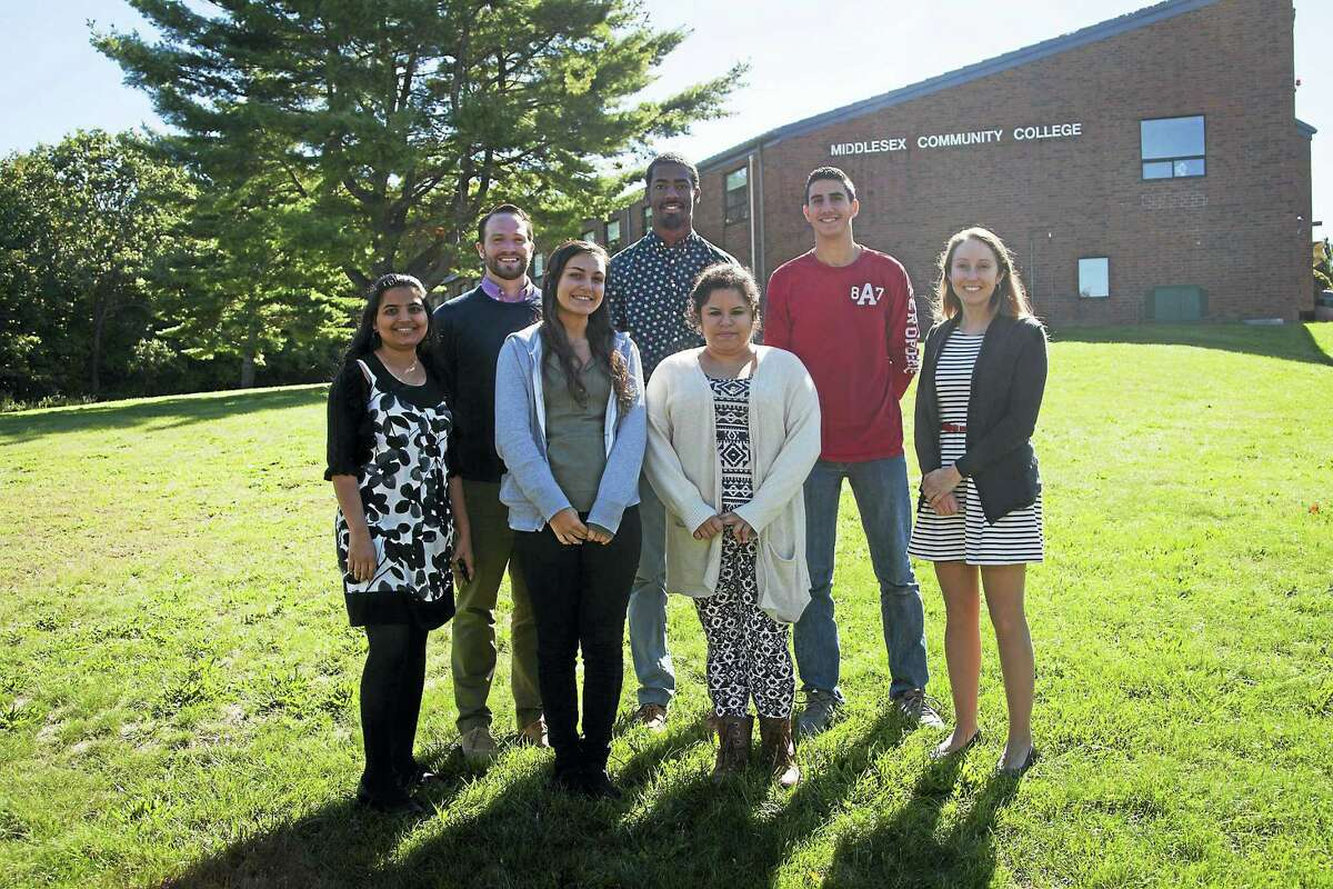 Middlesex Community College students John Tirone IV, Jeffrey Swatkins, Antwan Byrd, Tiffani Woronick and Delfina Rosario are mentors in a grant-funded environmental biology program that involves Middletown middle-schoolers.