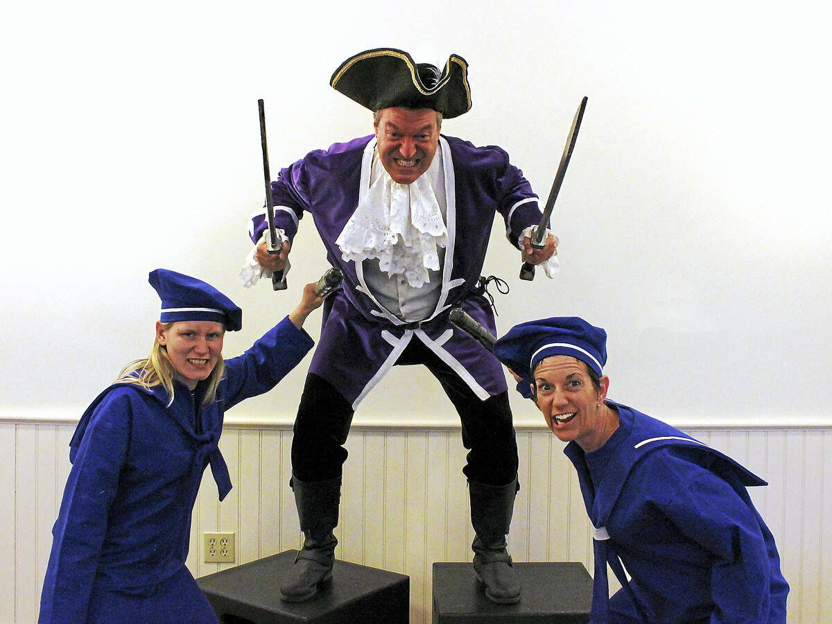Contributed photoRehearsing for The Pirates of Penzance, from left, are Nancy Williams of Old Saybrook, Vista member Brian Ruddy of Westbrook, and Craig Hines of Killingworth.