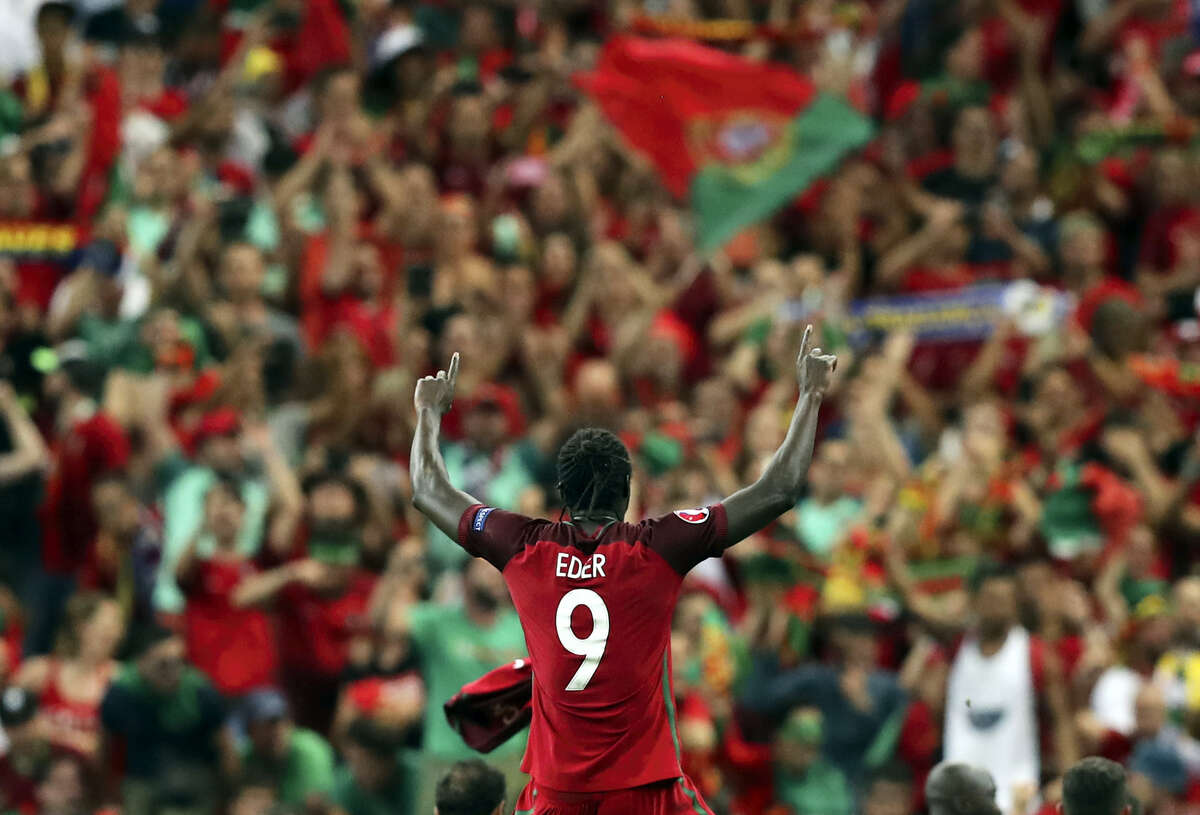 Portugal's Eder celebrates after winning the Euro 2016 championship match.