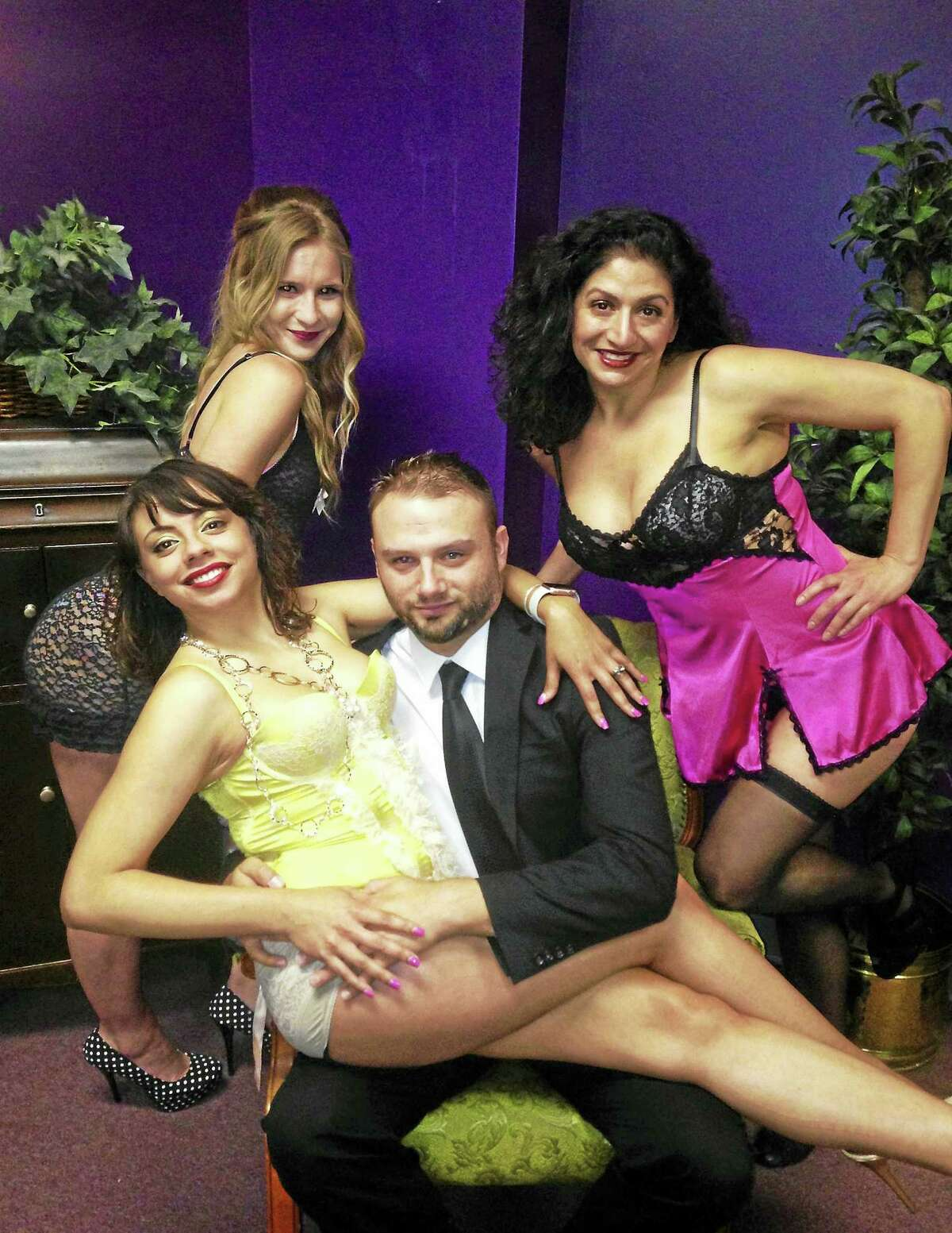 """Contributed photo The cast of """"No Sex, Please, We're British,"""" a comedy, Chris Brooks, Ashley Ayala Brianna Zuk and Maria Pompile. It opens May 13 at the Connecticut Cabaret Theater in Berlin."""