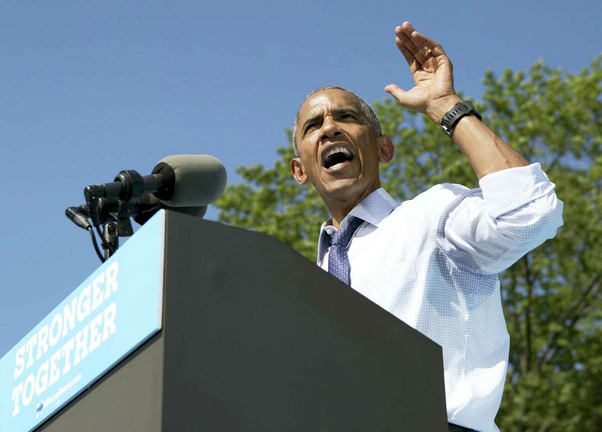 President Barack Obama speaks at campaign event for Democratic presidential candidate Hillary Clinton Tuesday at Eakins Oval in Philadelphia.