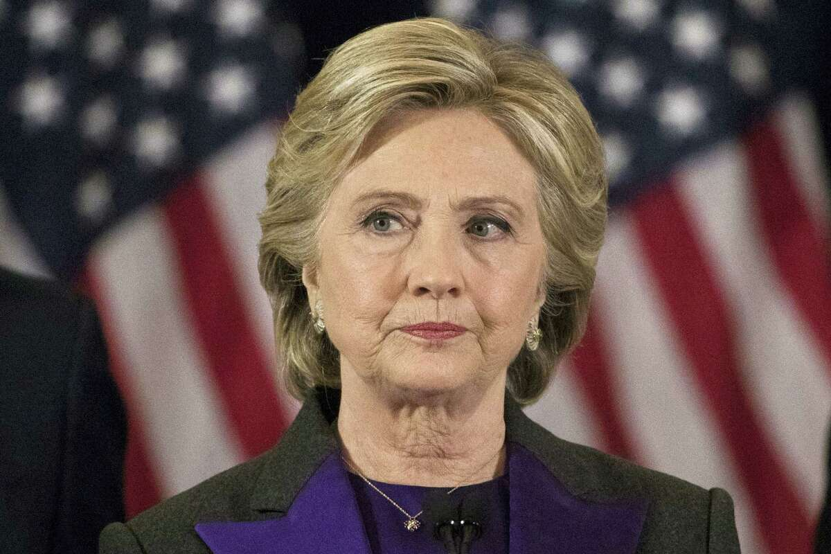 Democratic presidential candidate Hillary Clinton pauses while speaking in New York, Wednesday, Nov. 9, 2016, where she conceded her defeat to Republican Donald Trump after the hard-fought presidential election.