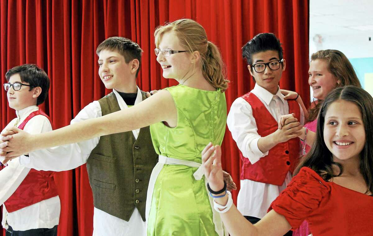 """Contributed photoFrom left: Connor Mulberry of Middletown, Ethan Bardoe of Wallingford, Alison Mahr of Middletown, Zack Sabetta of Moodus, Priscilla Pascucci of Durham and Aria Sinnapen of Middletown rehearse for """"Beauty and the Beast"""" at the Independent Day School in Middlefield."""