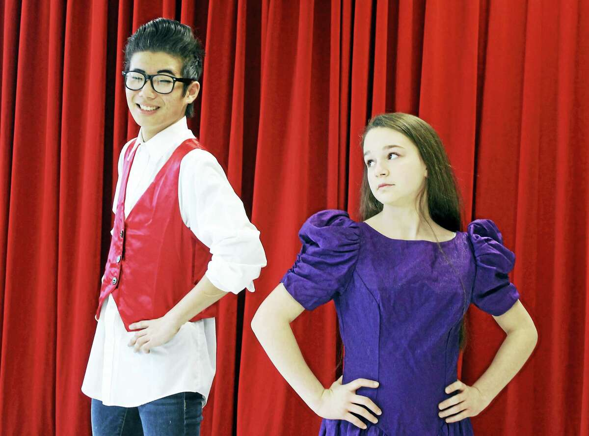 """Contributed photoZack Sabetta of Moodus and Laura Herscovici of Cheshire rehearse for """"Beauty and the Beast"""" at the Independent Day School in Middlefield."""
