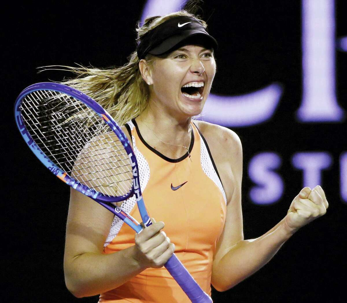 In this Sunday, Jan. 24, 2016, file photo, Maria Sharapova of Russia celebrates after defeating Belinda Bencic of Switzerland in their fourth round match at the Australian Open tennis championships in Melbourne, Australia. The five-time major champion says she failed a doping test at the Australian Open in January for the little-known drug, which became a banned substance under the WADA code this year. The former world No. 1 took full responsibility for her mistake when she made the announcement at a news conference Monday, March 7, 2016, in Los Angeles.