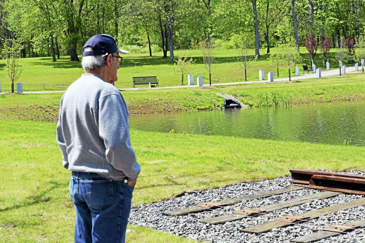 A portion of subway track from the World Trade Center site now sits at the Connecticut Trees of Honor portion of Veterans Park in Middletown.