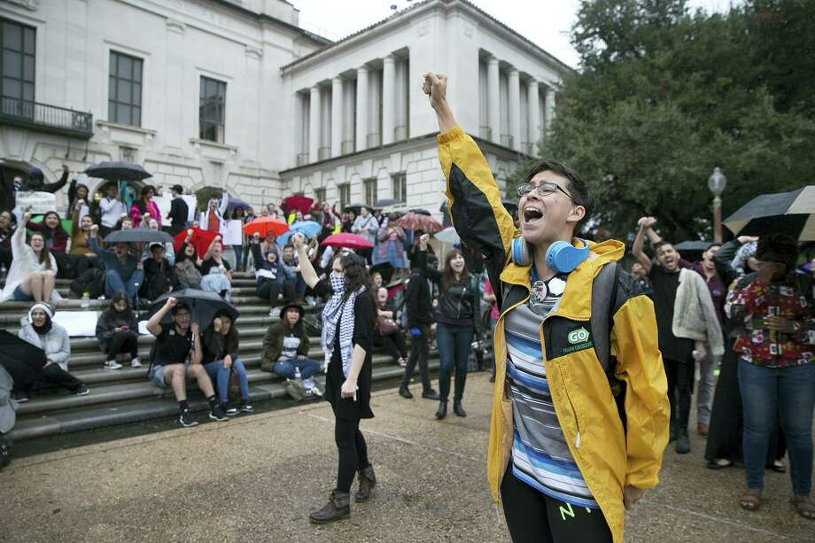 Leah McCaskill, a senior psychology student, protests with others at the University of Texas at Austin following the Trump election on Wednesday, Nov 9, 2016. Hundreds of University of Texas students march through downtown Austin in protest of Donald Trump's presidential victory. Photo: Deborah Cannon/Austin American-Statesman Via AP   / Austin American-Statesman