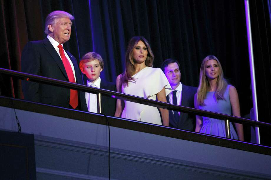 President-elect Donald Trump, left, arrives to speak at an election night rally, Wednesday, Nov. 9, 2016, in New York. From left, Trump, his son Barron, wife Melania, Jared Kushner, and Ivanka Trump. Photo: Evan Vucci — AP Photo / Copyright 2016 The Associated Press. All rights reserved.