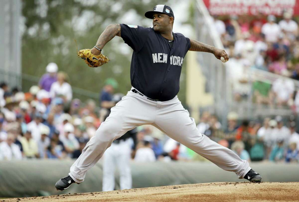 Yankees starting pitcher CC Sabathia throws during the first inning on Tuesday.