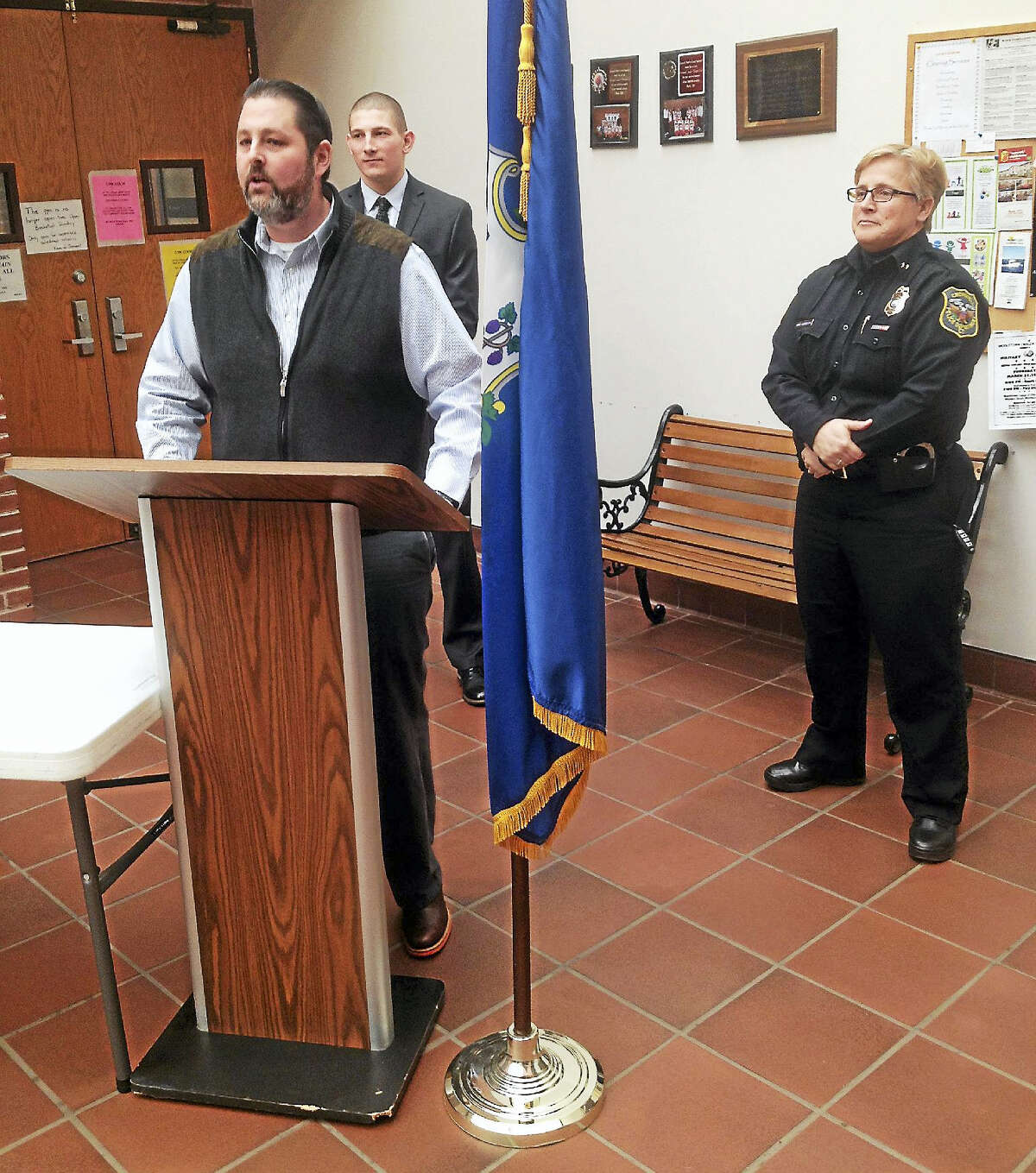Zachary Augenstein was sworn in Monday to Cromwell's Police Department, bringing the force to full staff at 27 officers.