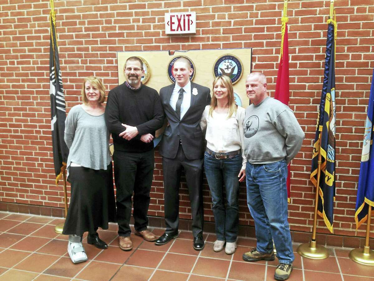 From left are: Melissa and John Augenstein, Cromwell Police Officer Zachary Augenstein, Jennifer Judd and her husband Frank Corbo.