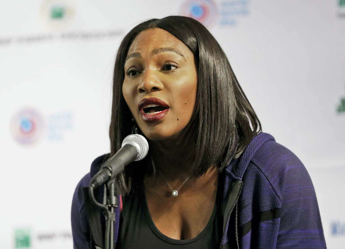 """Serena Williams talks to reporters at a news conference in New York, Tuesday, March 8, 2016. Williams says Maria Sharapova """"showed a lot of courage"""" in taking responsibility for her failed drug test. The 21-time major champion said Tuesday she """"hoped for the best"""" for Sharapova, a day after the Russian star revealed she failed a test the day she lost to Williams at the Australian Open in January."""