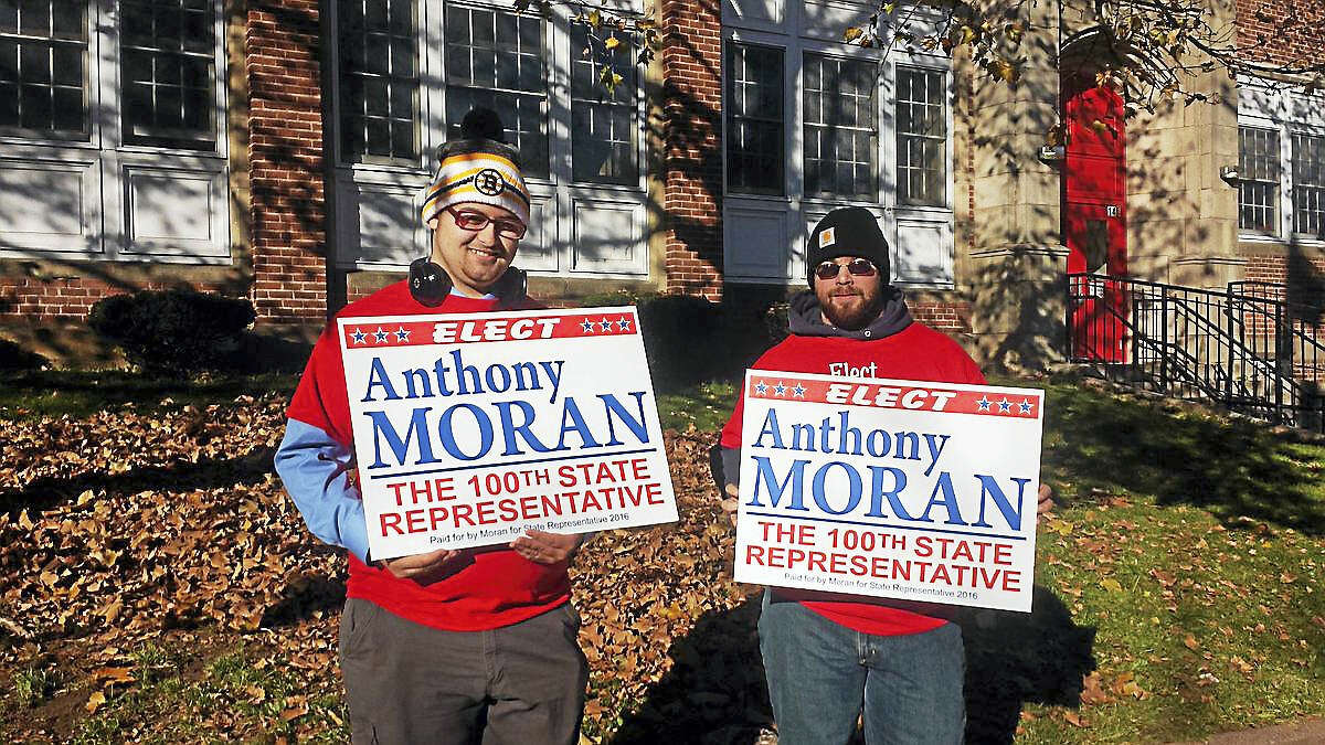 Republican Anthony Moran campaigns at Macdonough Elementary School Tuesday morning.
