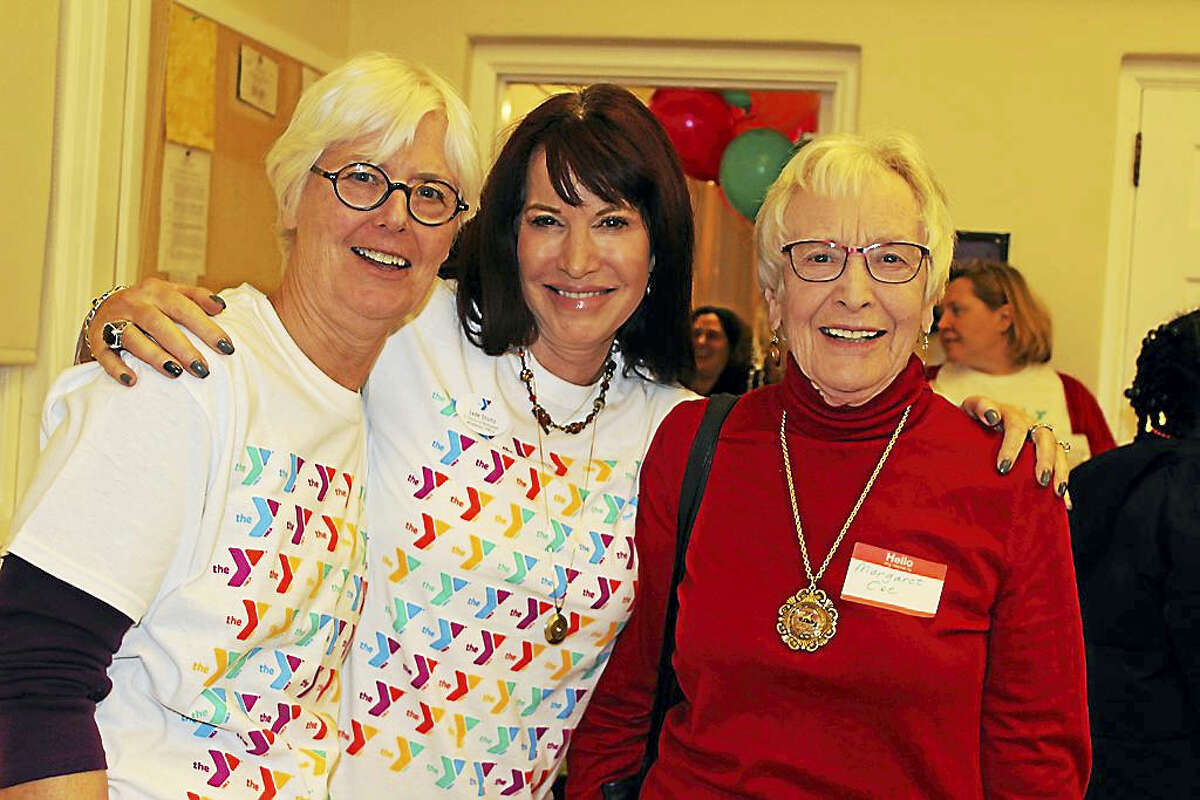 Kitch Czernicki; Jade Stoltz, senior director of development at the Middlesex Y, and Margaret Coe join at the annual campaign kickoff in Middletown.