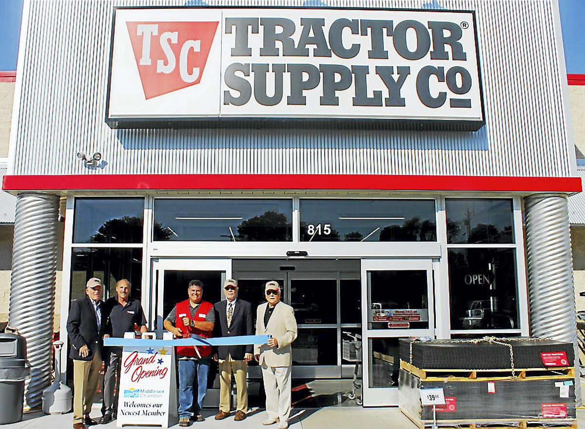 Tractor Supply Company in Middletown held a grand opening on Aug. 27 with city and business officials. From left are Middlesex County Chamber of Commerce President Larry McHugh, District Manager of Tractor Supply Company Alan Morris, General Manager of Tractor Supply Company Middletown Jeff Puglise, Middletown Deputy Mayor Bob Santangelo, and Middletown Small Business Development Counselor Paul Dodge.