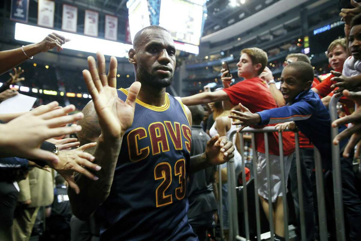 Cleveland Cavaliers forward LeBron James (23) walks off the court after the second half of Game 3 of the second-round NBA basketball playoff series against the Atlanta Hawks, Friday, May 6, 2016, in Atlanta. Cleveland won 121-108 and leads the best-of-seven series 3-0. (AP Photo/John Bazemore)