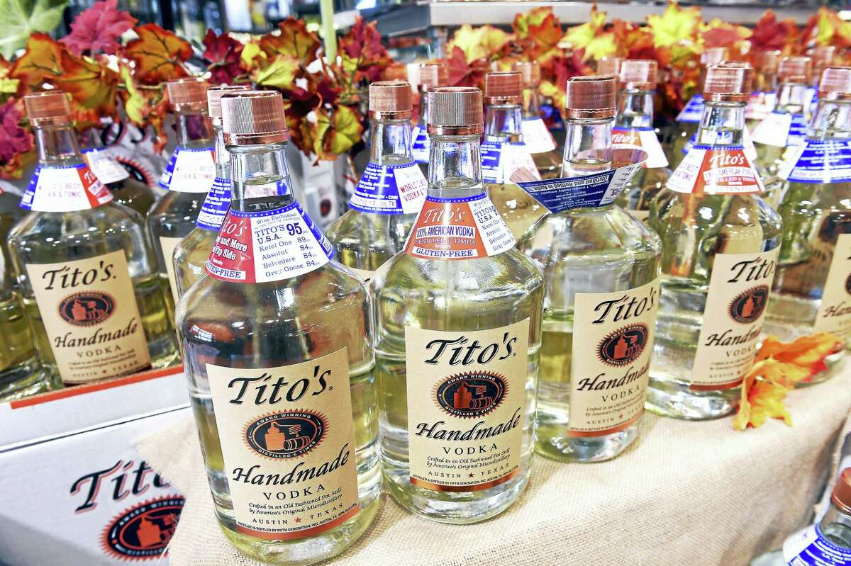 Tito's Handmade Vodka on display for sale at Total Wine & More in Milford.